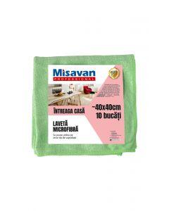 Laveta microfibra Misavan Professional Intreaga casa, 40*40cm, 10 buc/ set, verde