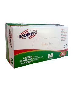 Manusi unica folosinta latex Poppy, pudrate, marime M, 100 buc/ set