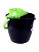 Galeata cu storcator Misavan, rotunda, negru+verde, 12l