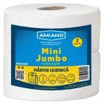 Hartie igienica Mini Jumbo Amiano, alba, 2 straturi, 2 role