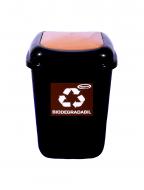 Cos gunoi colectare selectiva Misavan, maro, biodegradabil, capac, 35l