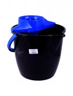 Galeata cu storcator Misavan, rotunda, negru+albastru, 12l