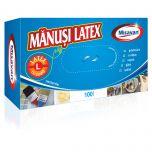 Manusi unica folosinta latex Misavan, pudrate, marime L, 100buc/set